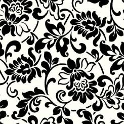Selvklæbende folie sort/hvid blomst 10247