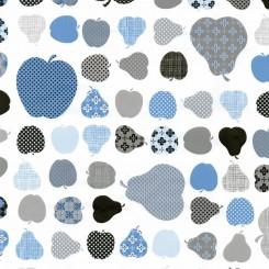 Selvklæbende folie blå æbler og pærer 12851